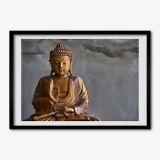 Tulup Bild MDF-gerahmte Wand-Dekor 100x70cm Holz buddha