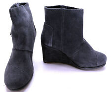 Toms Shoes Forged Iron Suede Kala Booties Grey Wedge Ankle Boot Womens 6