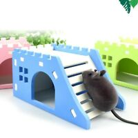Pet Wood Castle Toy Mini Hamster House Bed Cage Nest For Small Animal Pet FAC