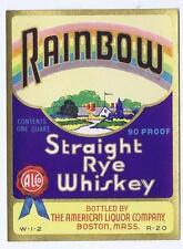 Rainbow, Straight Ryle Wiskey American Liquor Co Boston antique bottle label #32