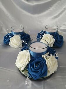 12 x Wedding Table Centrepiece Decoration Candle Flower Roses Ring Any Colours