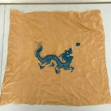 VINTAGE EMBROIDERED ASIAN BLUE DRAGON SILK OR RAYON CLOTH SCARF ORANGE