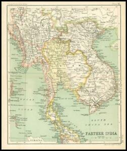 c1912 Map of FARTHER INDIA Chart Regions (BS45)