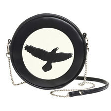 NWT Raven Moon Black Purse Round Vinyl Shoulder Bag Handbag Alchemy Gothic GB5