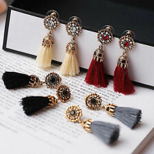 Vintage Women's Rhinestones Crystal Tassel Drop Stud Earrings Dangle Jewelry UK