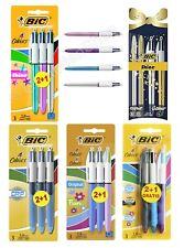 BIC 4 Multi Colour Shine Grip Ballpoint Pen Blue Pink Silver Purple Gold 3 Pack