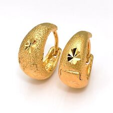 Wedding Hoop Earrings New 24k Yellow Gold Filled Women's Jewelry Fashion Gift