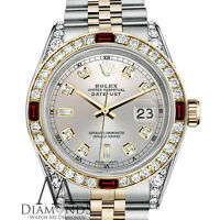 Ladies Rolex Stainless Steel & Gold 26mm Datejust Watch Silver Dial Ruby Diamond