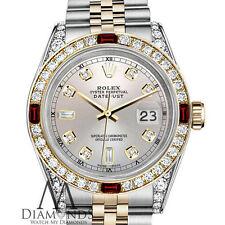 Mujer Rolex Inoxidable Acero Y ORO 31mm Datejust reloj esfera plateada