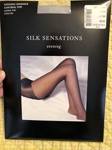 Bloomingdale's Silk Sensations Evening Shimmer Control Top Silver NEW NIP SZ B