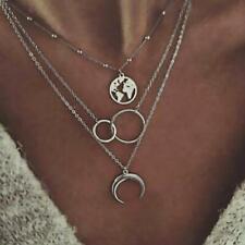 Boho Women Multi-layer Long Chain Pendant Choker Necklace Jewelry Gift Silver