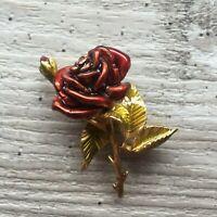 Vintage Brooch Gold Tone Metal Red Enamel Rose Flower Evening Cocktail Gift 2.25
