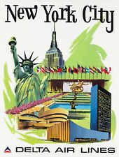 VINTAGE NEW YORK CITY DELTA AIRLINES TRAVEL A2 POSTER PRINT
