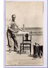 Real Photo Postcard Rppc - Carpenter in Overalls with Saw and Other Tools