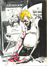 SIMON BISLEY original art, HELLBLAZER #268 preliminary Cover, 8.5x12, Bloody ell