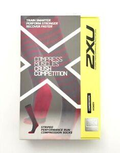 2XU Women Striped Performance Compression Socks Variety Blue/Pink Size M, L, XL