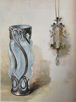 Lalique Vase Verre Opalise Argent Bijoux Gravure Art Nouveau Lithographie 1898