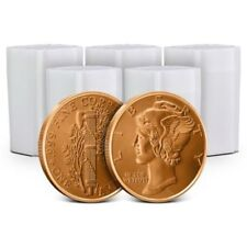Lot of 100 - 1 oz Copper Rounds Mercury Dime
