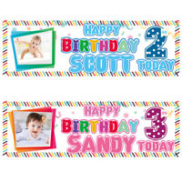 2 Personalised Birthday Banner Photo Children Baby Kids Party Poster Decoration