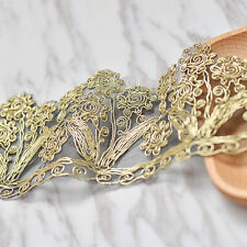 Gold Embroidery Venise Lace Wedding Trim Floral 1 Yard Beautiful Metallic