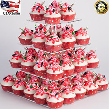 4 TIERS WEDDING CAKE CUPCAKE SQUARE BASE STAND CLEAR ACRYLIC Round DISPLAY TOWER