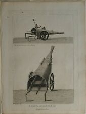 1786 ANTIQUE MILITARY ENGLISH ARMY PRINT ANCIENT GUN CART VIEW REAR SIDEWAYS