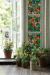 Glass Film Window Cling Faux Stained Dragonfly Bugs Flowers Birds