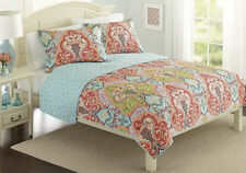 Turquoise & Coral Tropical Beach Damask Full / Queen Quilt & Shams Bedding Set