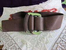 genuino TED BAKER ancho marrón CINTURÓN DE CUERO doble plata hebillas talla 4