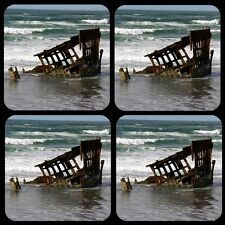"""Peter Iredale Ship Wreck 1/4"""" Thick Coaster Set of 4"""