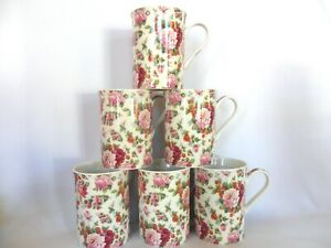 Set of 6 Strawberry Rose china 10oz mugs