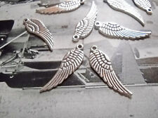 4 Angel Wing Charms Antiqued Silver 30mm 2 Sided Wholesale Charms