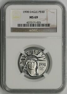 1998 Statue of Liberty Half-Ounce Platinum American Eagle $50 MS 69 NGC 1/2 oz