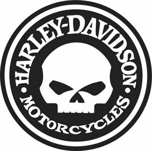 HARLEY SKULL CIRCLE DESIGN IMAGE VINYL STICKER  GARDEN BAR, MAN CAVE WALL WINDOW