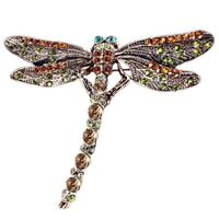 Women Fashion Vintage Crystal Dragonfly Brooch Pin Jewelry Scarf Accessory Gift