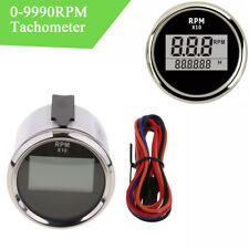 """2"""" Car LCD Digital Tachometer Marine Outboard  0-9990 RPM Meter Gauge Waterproof"""