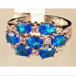 Ladies Silver Plated Cubic Zirconia  Cocktail Ring Size 8 9   Blue Cluster