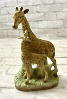"Mother Giraffe and Calf Figurine Ceramic 6 1/2"" Tall"