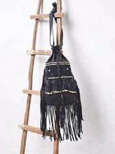 Free People Black Flook the Label Forever Fringe Crossbody Bag-$278 MSRP-Austrai