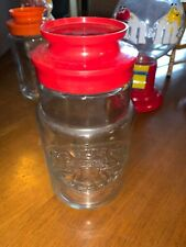 """Vintage Anchor Hocking 8"""" Glass Jar Canister Red Lid 1776 Liberty Bell"""