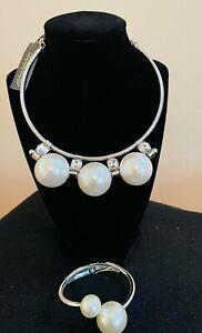 Traci Lynn Faux Pearl Rhinestone Choker Necklace with Bracelet! 5/6