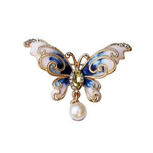 Gorgeous 7.5-8mm White freshwater pearl Dripping oil Gold Butterfly Brooch BH65