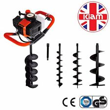 Heavy Duty Petrol Earth Auger Fence Post Hole Borer Digger Includes 3 Drill Bits