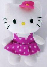 """Hello Kitty Cat Pink Polka Dot Dress Plush Stuffed Animal 7"""""""