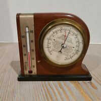 Vintage Swift & Anderson - Inc Wooden Thermometer & Barometer Paper Weight
