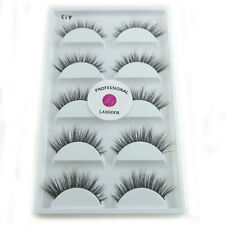 5Pairs/lot LASGOOS Real Mink 3D False Eyelashes Reusable Eye Lashes for Makeup