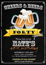 Any Age 21st 30th 40th 50th 60th Invitation BEERS CHEERS Birthday Party Invite