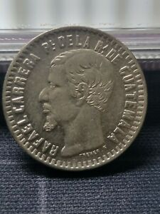 Guatemala 1860 1 Real Silver Coin + XF MINTAGE 177,000K