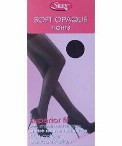 "Silky 40 Denier Black Soft Opaque Superior Fit Tights Sizes M & XL 36""-54"" HIP"