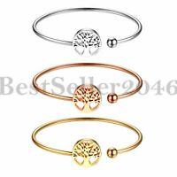 Womens Tree of Life Charm Open Cuff Bangle Stainless Steel Bracelet Adjustable